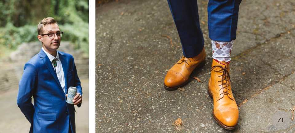 Stern Grove wedding details - groom's portrait and sock with dog print by Zoe Larkin Photography
