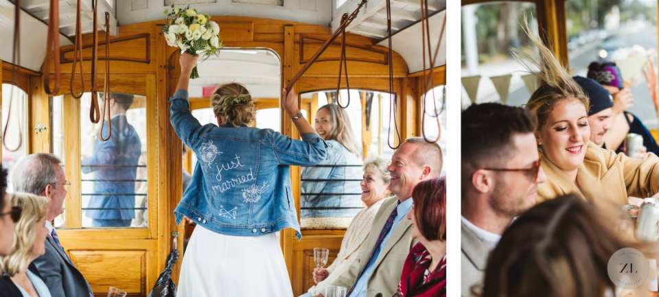 wedding group drinking and having fun on san francisco cable car trollet by Zoe Larkin Photography