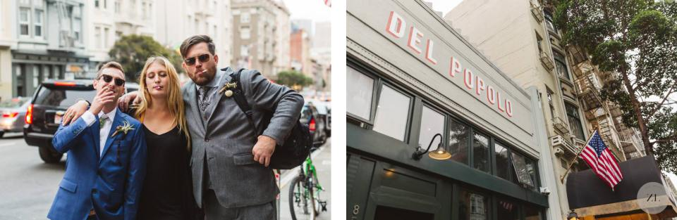 wedding fun photos outside Del Popolo by San Francisco photographer Zoe Larkin Photography