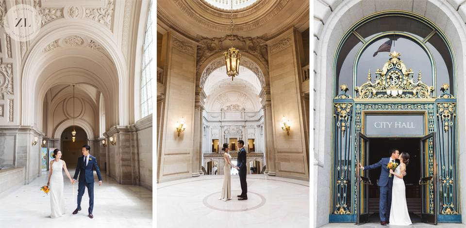 Three images of a couple in different areas of San Francisco City Hall a few days before their wedding at Chateau Carmel