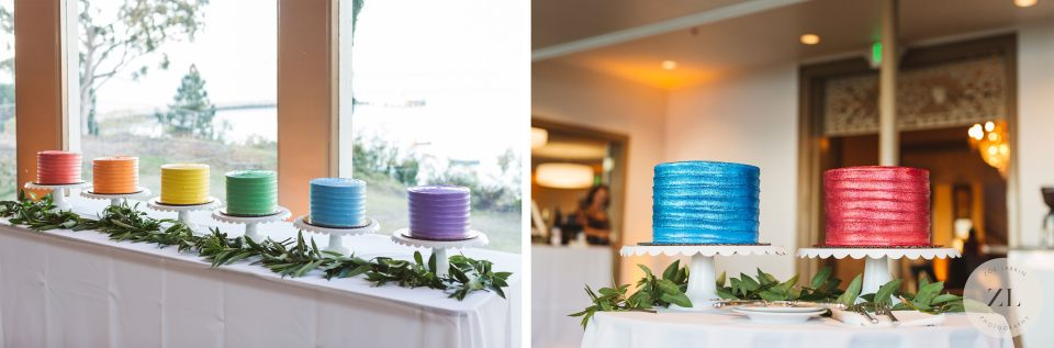 colorful rainbow wedding cakes at General's Residence wedding San Francisco