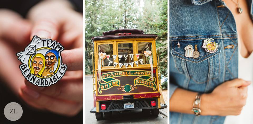 thoughtful wedding details including cute enamel pins and a decorated trolley car