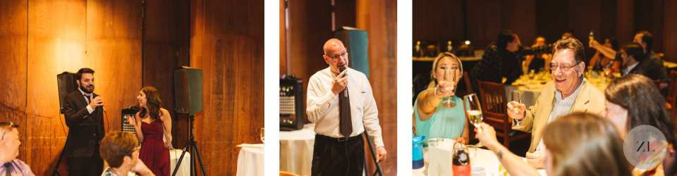 family speeches at indoor Yosemite Wedding reception venue