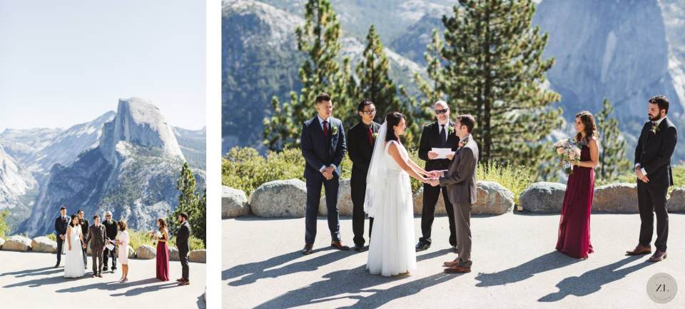 wedding with Glacier Point Yosemite in background - by Zoe Larkin Photography