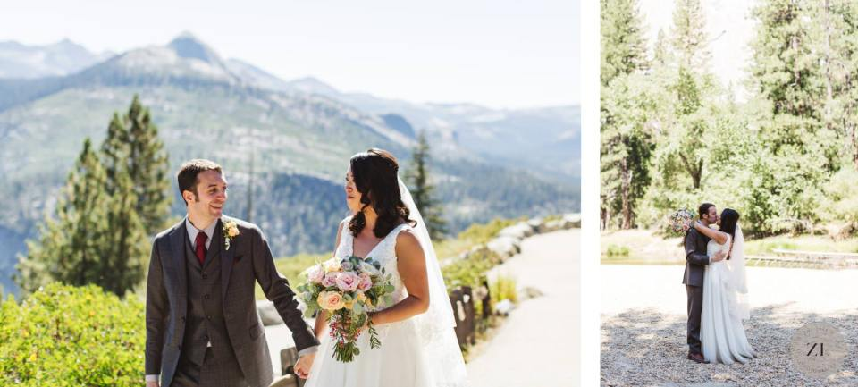 wedding photos of newlywed couple at yosemite valley wedding