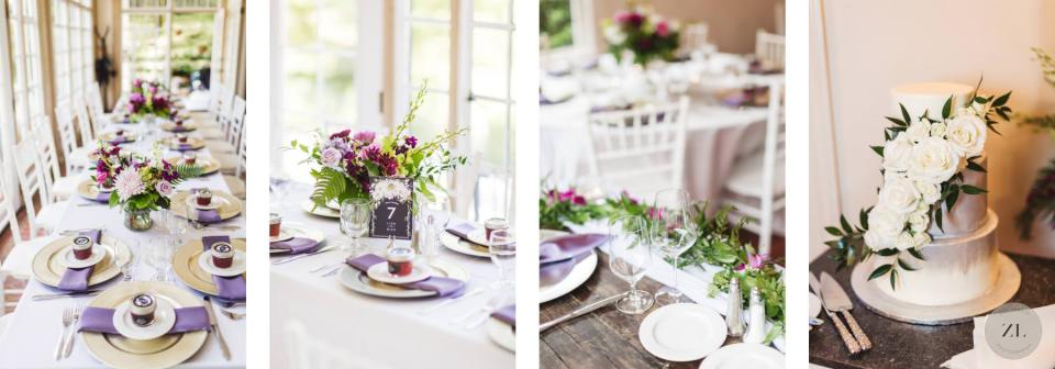 Monte Verde Inn wedding detail - tabletops. By Zoe Larkin Photography