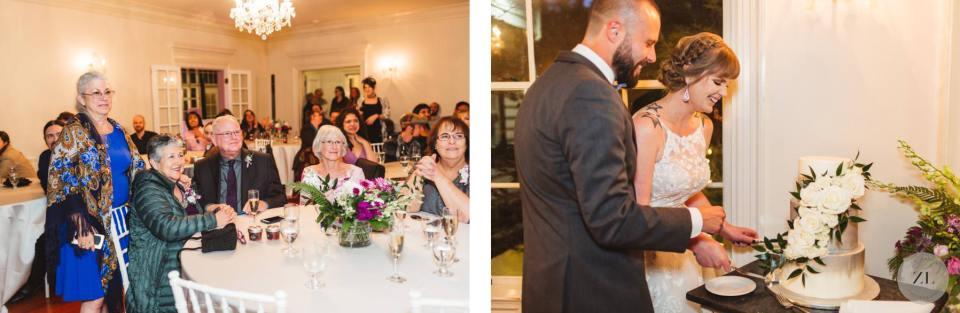 cutting wedding cake at Monte Verde Inn wedding