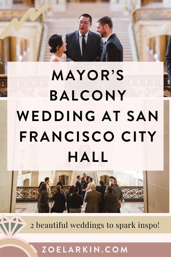 Mayor's balcony wedding at San Francisco City Hall 🏛️ Looking for City Hall wedding inspiration for your private area rental at SF City Hall? I've collected helpful information and wedding ceremony inspiration from two couples who chose the Mayor's Balcony for their private ceremony at San Francisco City Hall. Find out the best time to book, how light affects your pictures, how to plan your day, and more! | #sf #sanfranciscocityhall #sfcityhall #mayorsbalcony | 📷 Zoe Larkin Photography