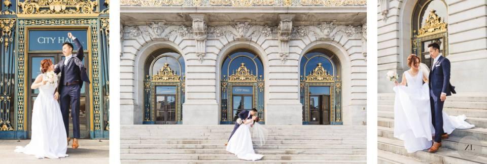 san francisco city hall wedding photography outside front steps of san francisco city hall