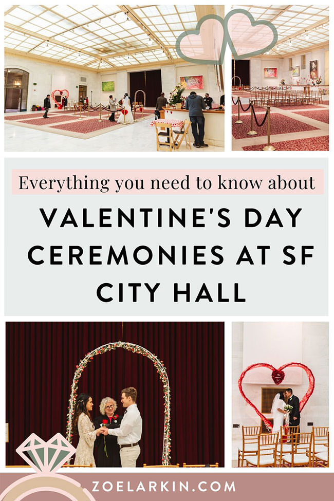 Everything you need to know about planning your Valentine's Day wedding ceremony at San Francisco City Hall! Weddings are a little different at San Francisco City Hall on the most romantic holiday of the year. The North Light Gallery is decked out with festive arches and chairs, and City Hall marries hundreds of couples. You can also choose your location anywhere in San Francisco City Hall to get married. #sanfranciscocityhall #sfcityhall #valentinesdaywedding | Zoe Larkin Photography