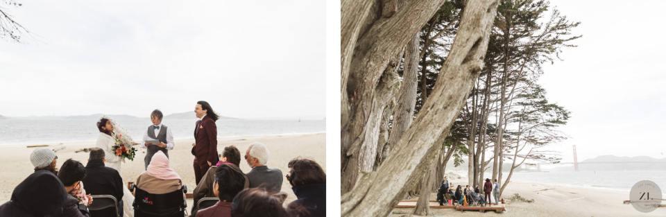 wedding ceremony photos at Crissy Field, San Francisco beach