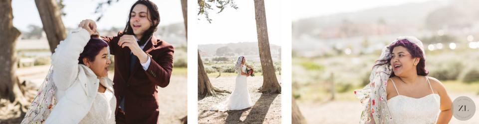 bride getting ready at Crissy Field beach wedding in San Francisco