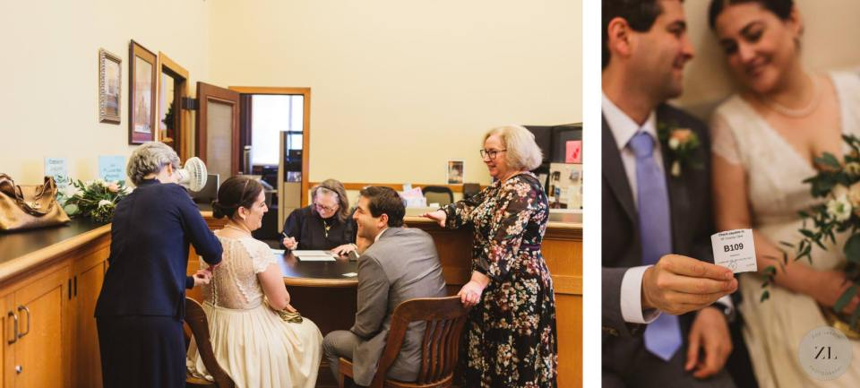 timeline for sf city hall wedding civil ceremony - couple waiting outside room 168 for wedding