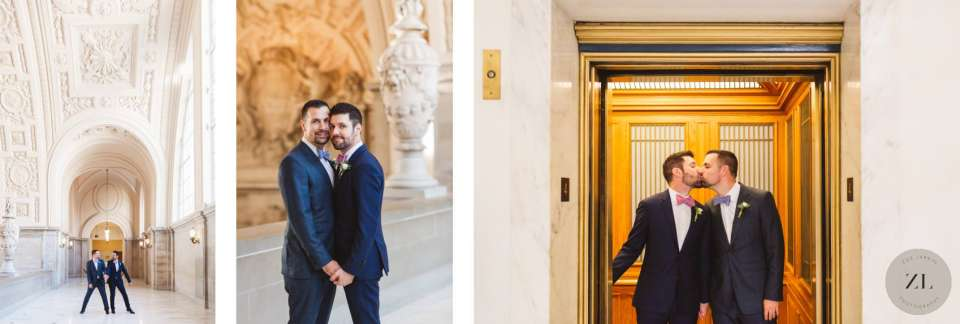 lgbtq couple's photos at san Francisco city hall wedding