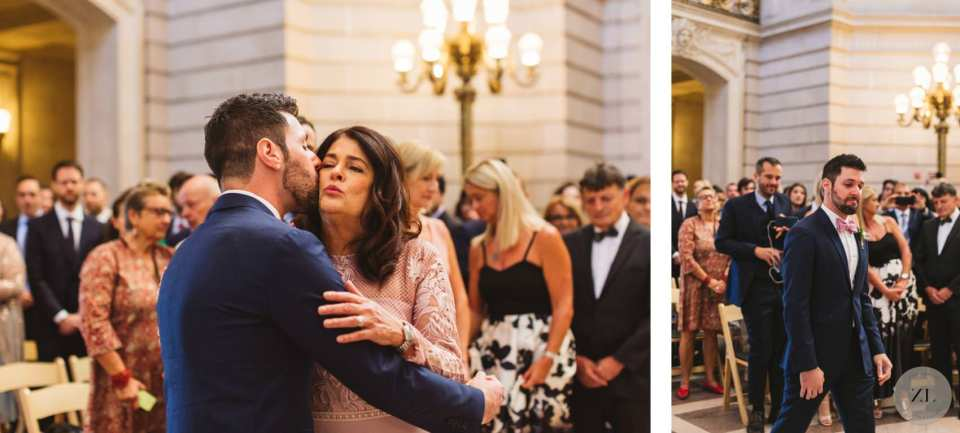 groom's mom kissing him on the cheek before he marries fiance