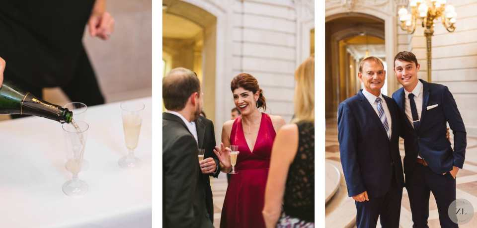 champagne is served on 1st floor of sf city hall for champagne reception after saturday wedding ceremony