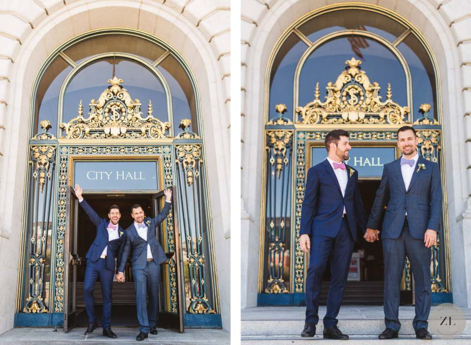just married LGBTQ+ couple exiting san francisco city hall after their wedding ceremony