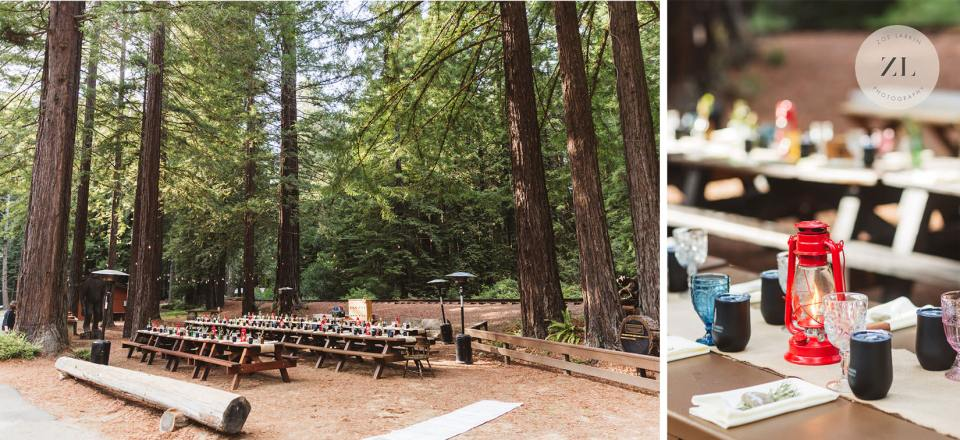 beautiful Camp Mendocino wedding table settings