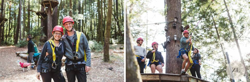 couple zip lining at their wedding at camp mendocino