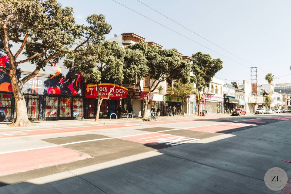 An empty Mission Street in the heart of San Francisco's Mission District | Zoe Larkin Photography zoelarkin.com
