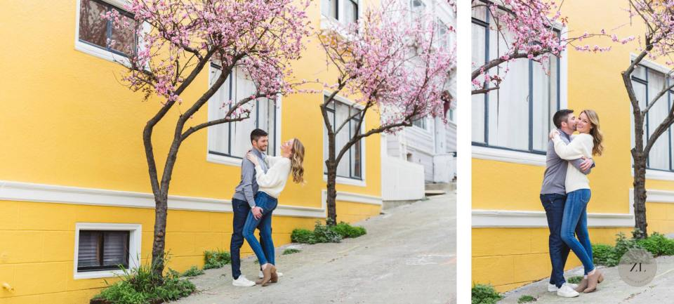 springtime engagement photograph with blossoms in Pacific Heights neighborhood, San Francisco CA