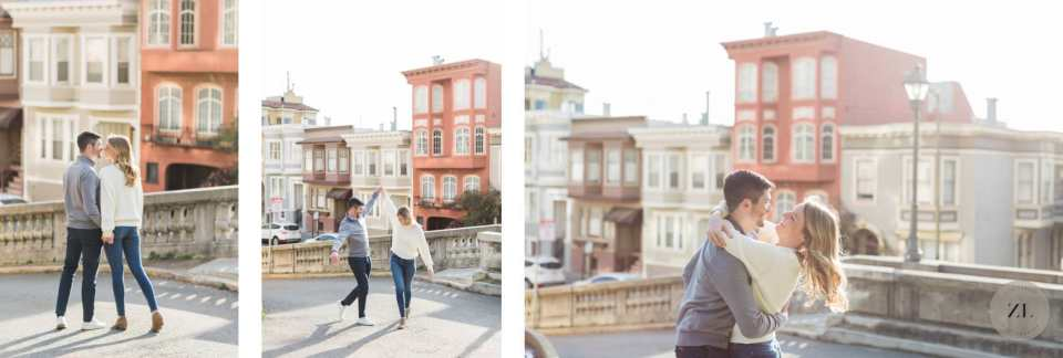 fun engagement photos in the Pacific Heights neighborhood in San Francisco, CA