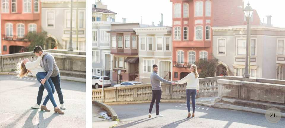 Engagement Photoshoot on Vallejo Street in Pacific Heights neighborhood in San Francisco