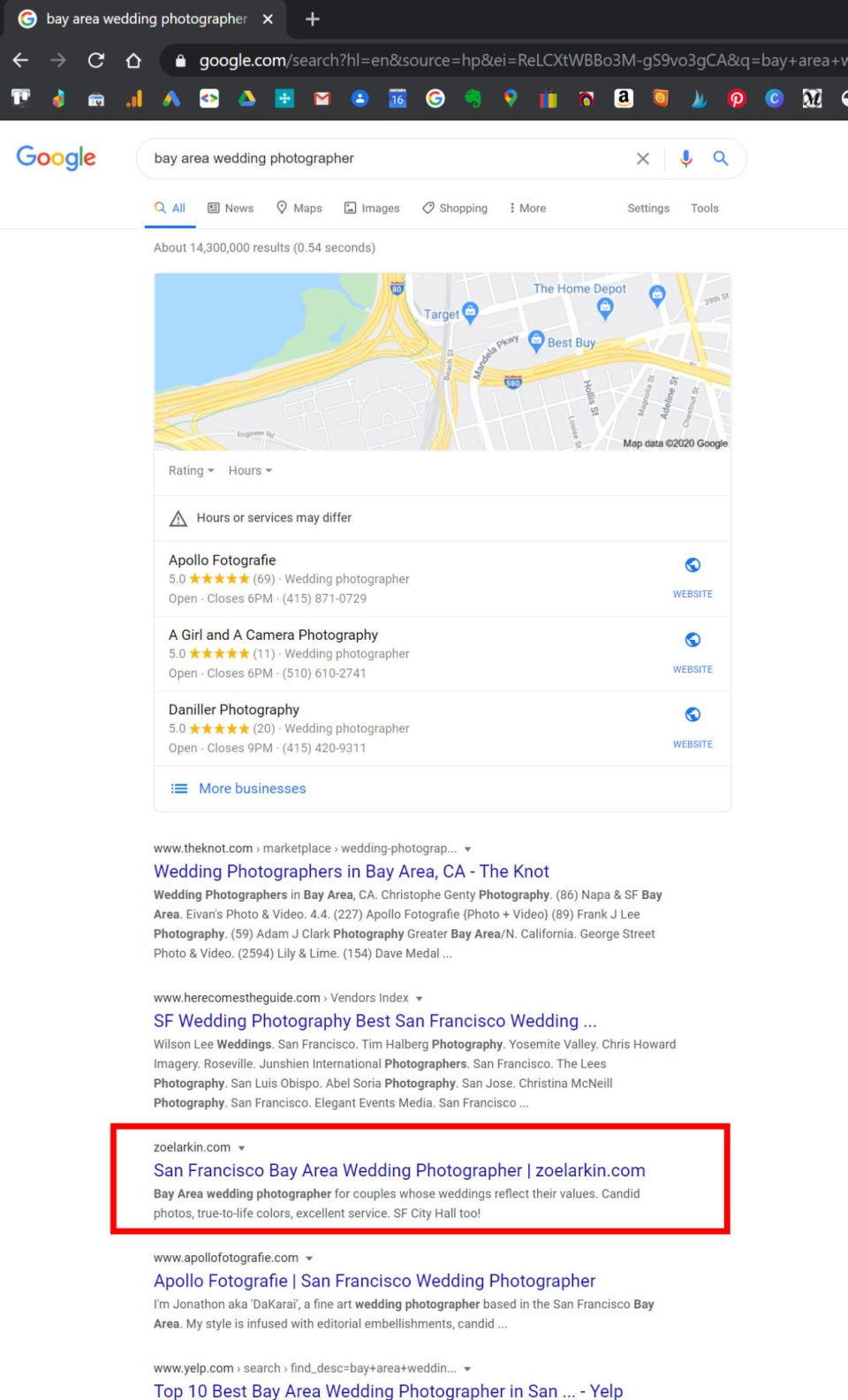 I reached the top of Google for the competitive term Bay Area Wedding Photographer | Zoe Larkin Photography