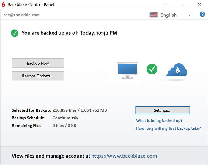 How to back up files as a wedding photographer - backblaze screenshot