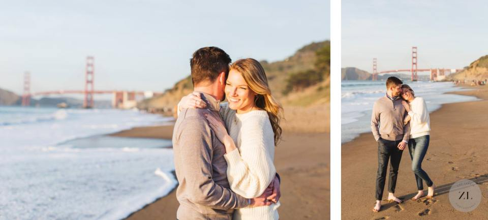 couple embracing on engagement shoot with Golden Gate Bridge in background - San Francisco beach photo shoot
