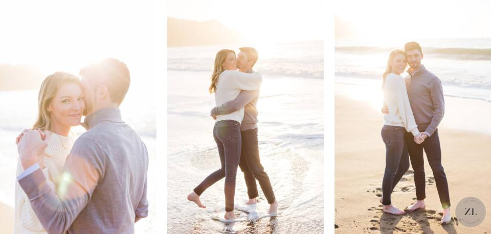 San Francisco engagement photography on Baker Beach with cute couple embracing | Zoe Larkin Photography