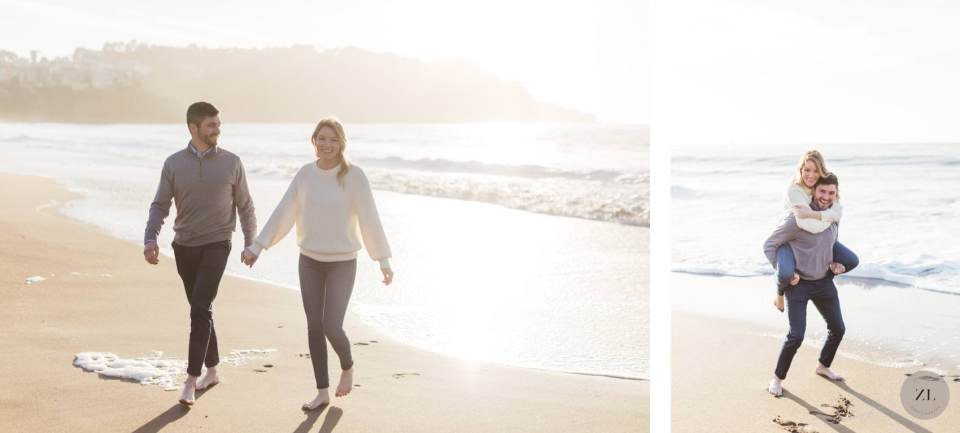 Couple piggybacking on Engagement photos on Baker Beach, San Francisco