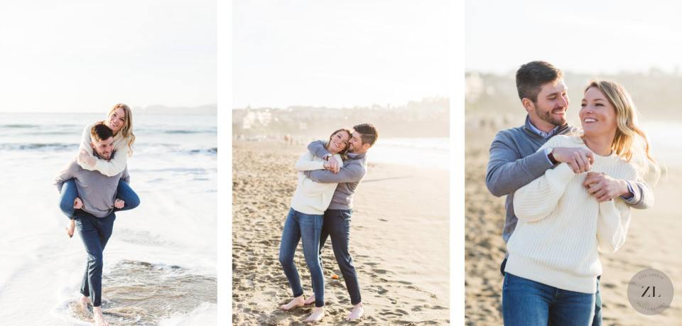 candid engagement couple on baker beach on their engagement shoot with Zoe Larkin Photography
