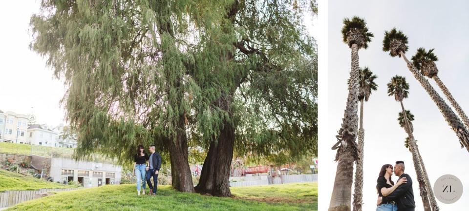 Mission Dolores Park engagement photos showing couple underneath tall trees