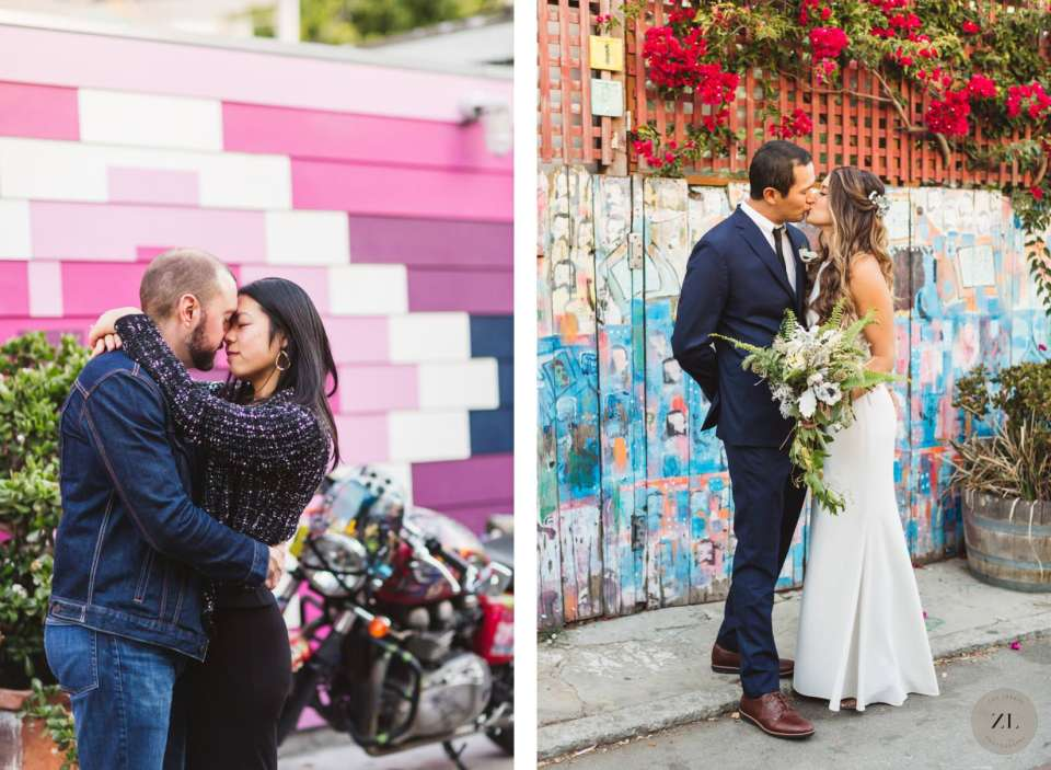 Balmy Alley photography, one of the best locations in Mission District for engagement and wedding photos