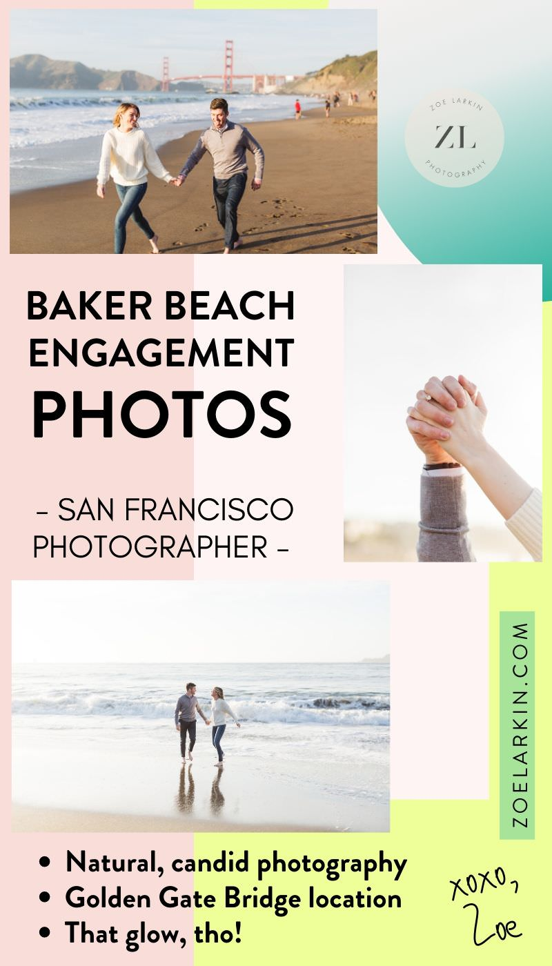 Inspiration for your Baker Beach, San Francisco engagement shoot! This gorgeous couple, Andrea and Mason, spent a beautiful sunset evening at the stunning SF engagement photography location overlooking the Golden Gate Bridge. This favorite photography location boasts wonderful views, usually great weather and a wide expanse of space along the mile-long beach. Perfect for introverts! Looking for a Baker Beach engagement photographer? #sanfrancisco #engagementphotography | Zoe Larkin Photography