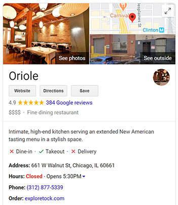 Example showing a well-optimized Google My Business listing