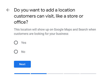 'Do you want to add a location customers can visit, like a store or office'? question screenshot from Google My Business listing setting up a photographers' profile