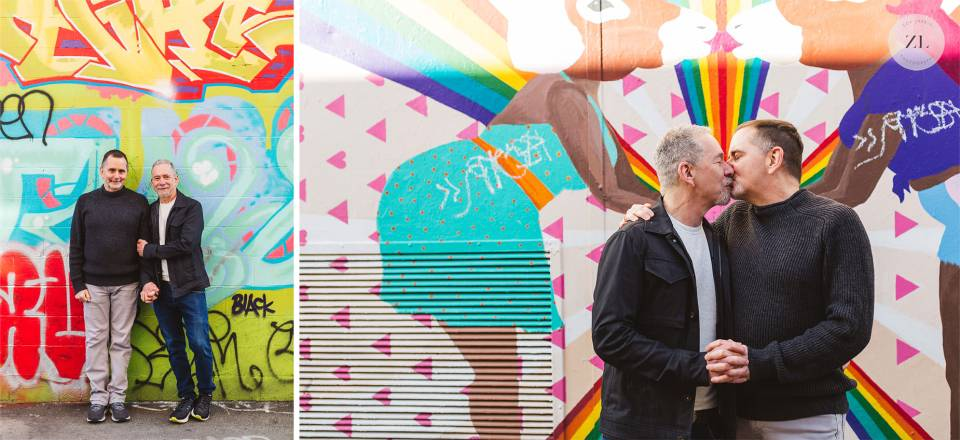 engagement photography with LGBTQ same-sex couple clarion Alley by Zoe Larkin