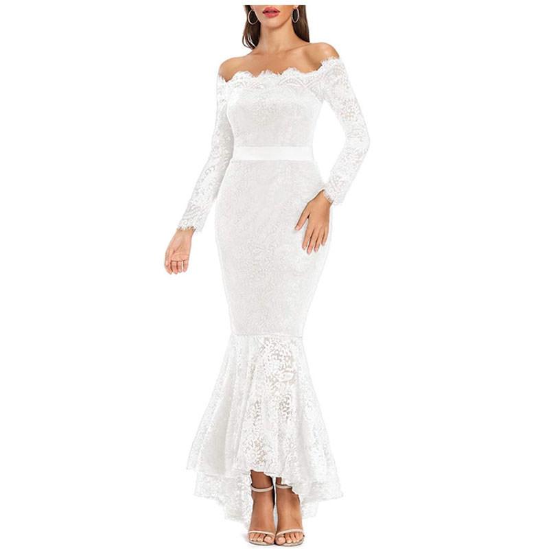 Floral lace off-shoulder mermaid dress