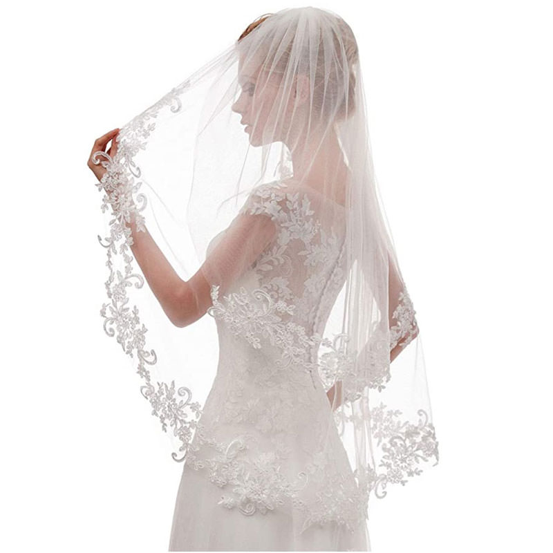 Short 2 Tier Lace Wedding Bridal Veil