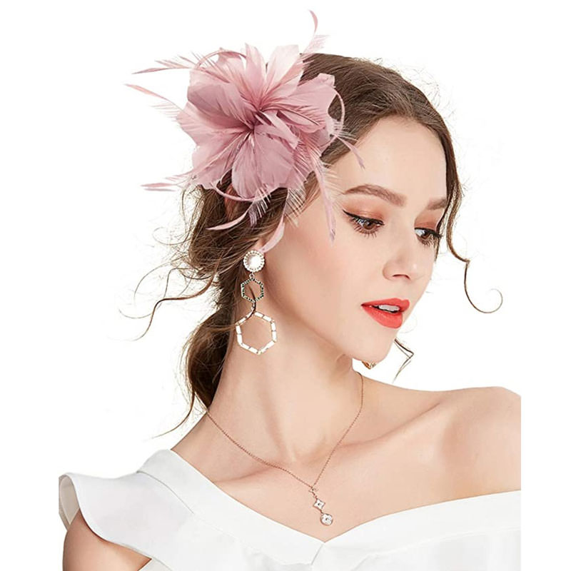 Feather Flower Fascinator Pale Pink