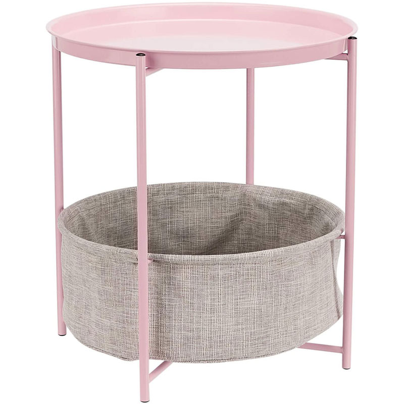 Round Storage End Table - Dusty Pink