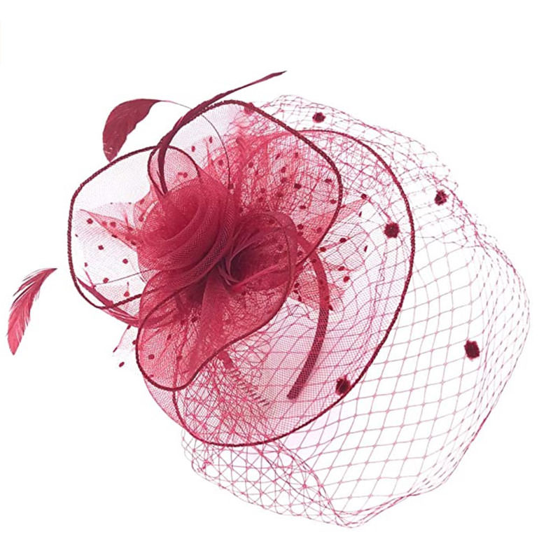 Mesh fascinator for wedding red