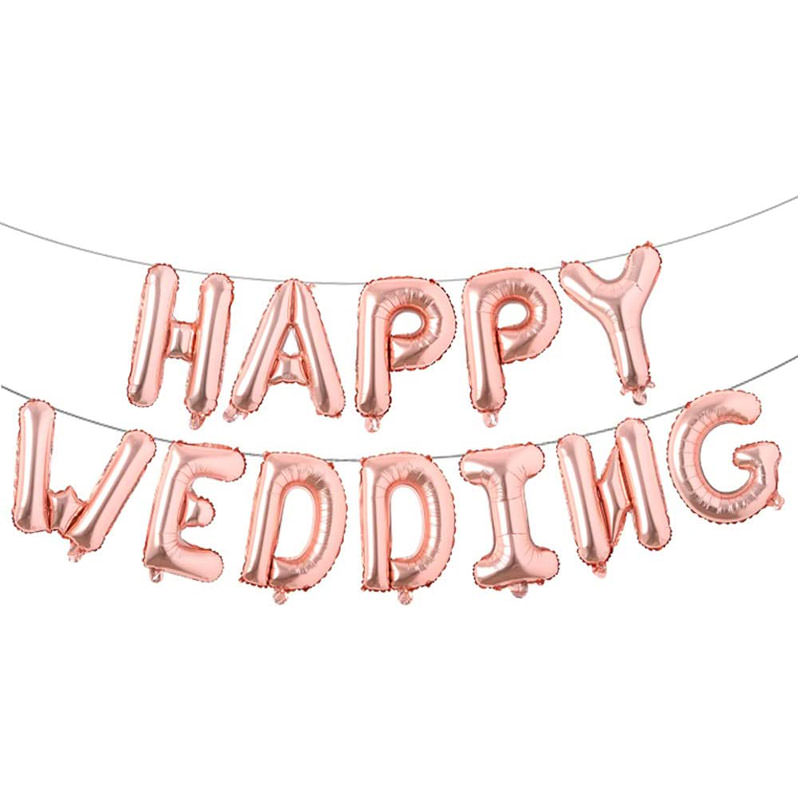 Happy Wedding rose gold balloon