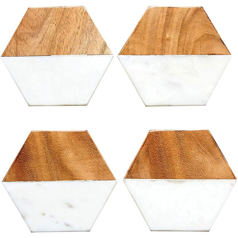 Marble and Natural Mango Wood Coasters
