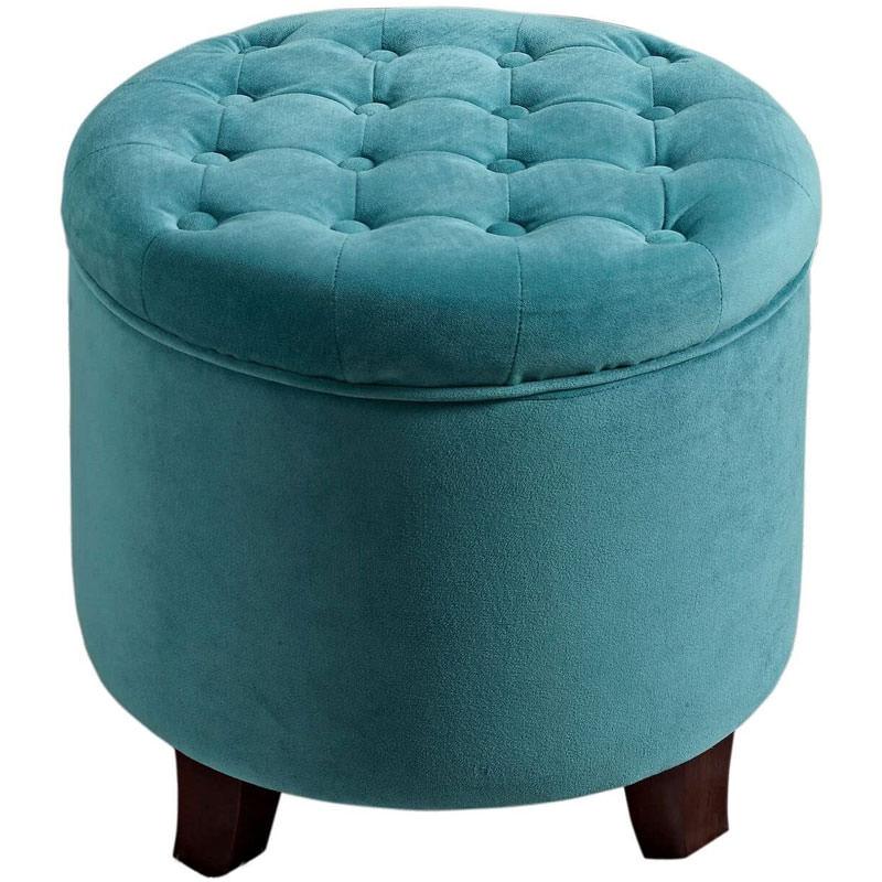 Velvet Button Tufted Round Storage Ottoman