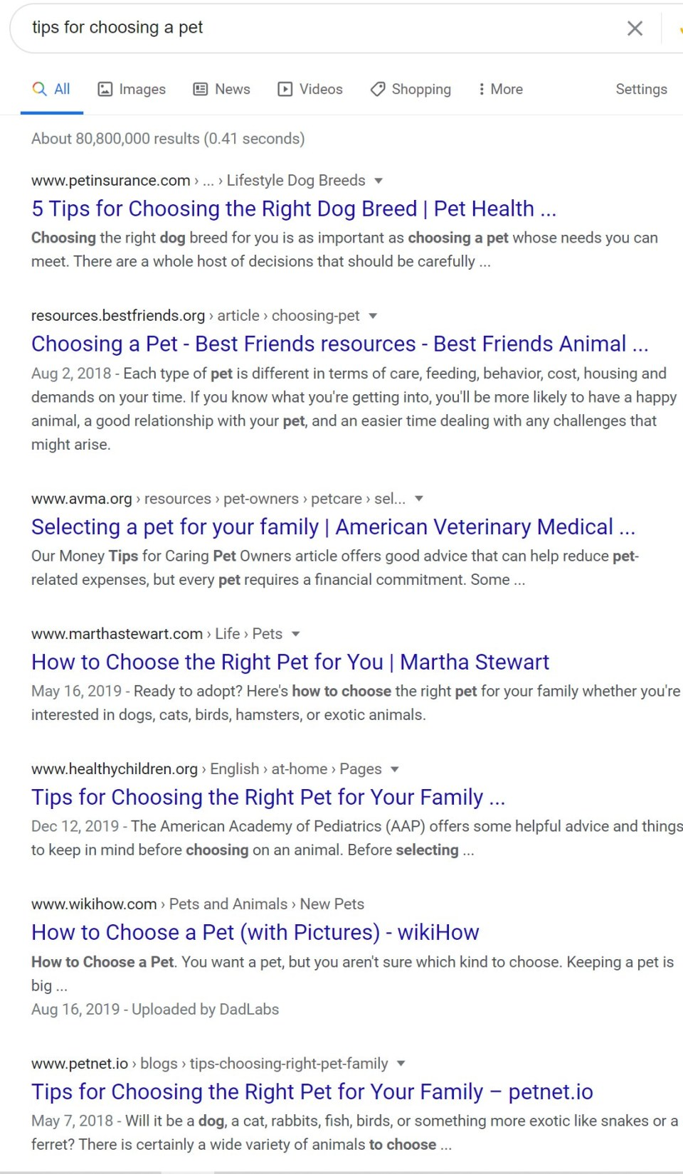 screenshot - SERP results showing example of titles showing up first, as Google makes sense of the content and rank it accordingly.