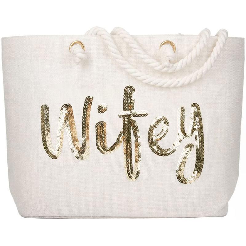 Wifey wedding gold sequin jute tote