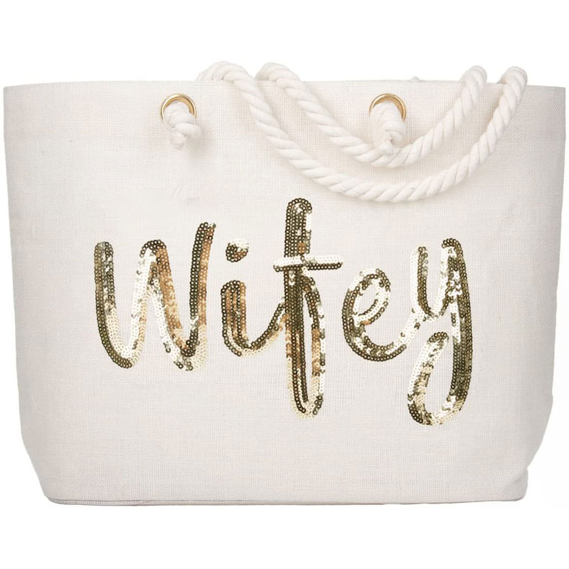 Wifey wedding gold sequin jute tote
